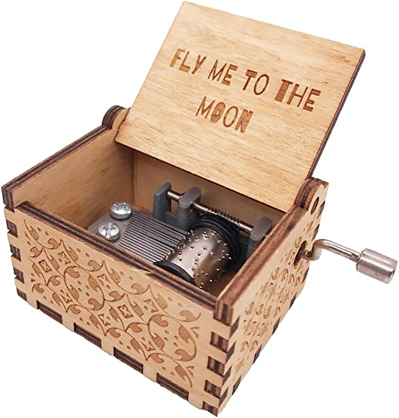 YouTang Music Box 18 Note Hand Crank Engraved Wood Music Box Play Fly Me To The Moon Brown