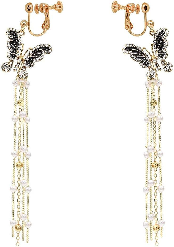 Clip on Dangle Earrings Butterfly Extra Long Tassel non Pierced Women Girl Created Pearl Crystal