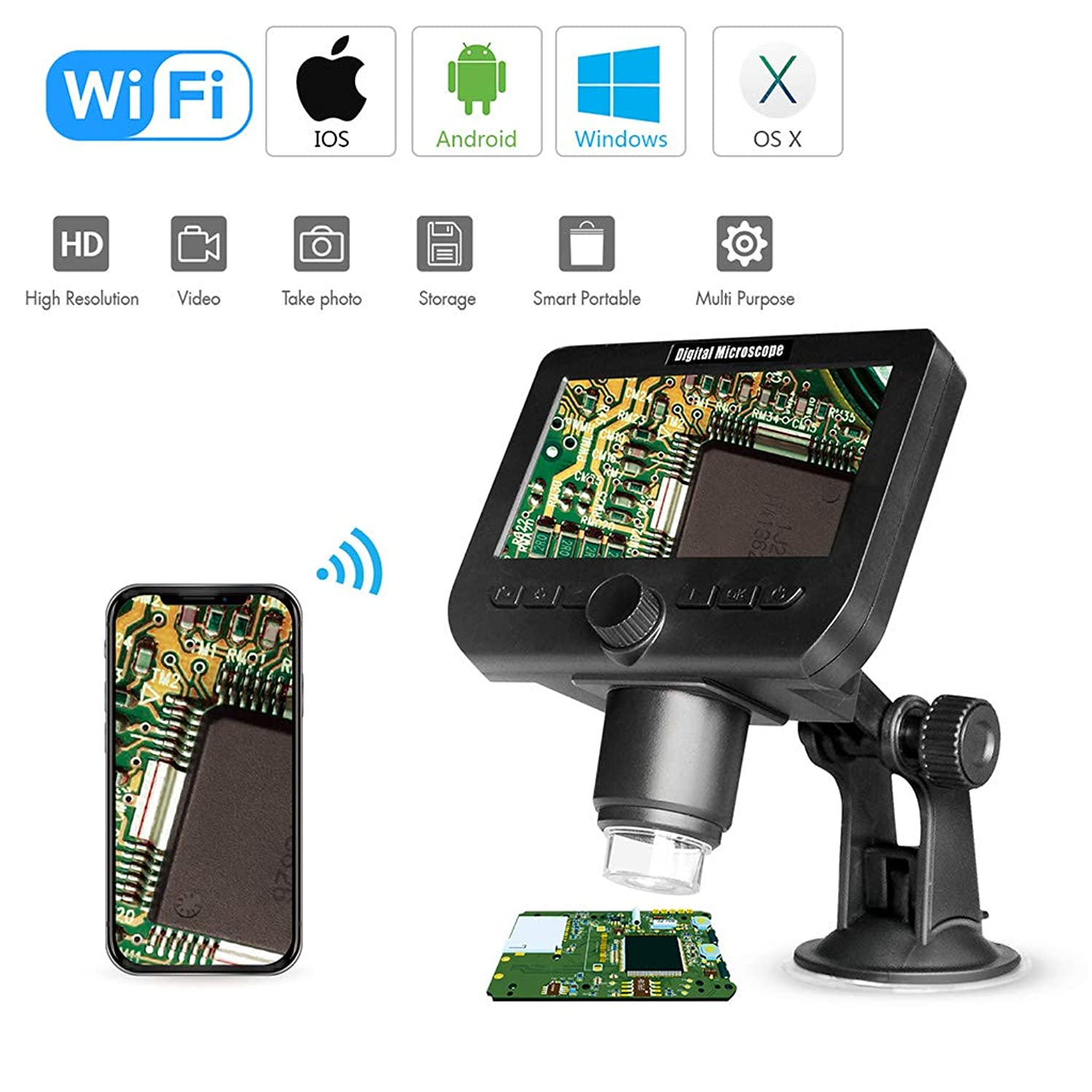 """Yuly 2MP Wireless WiFi Microscope 4.3"""" HD Screen 8 LED 1080p Camera Magnifier W Suction Cup Base for iOS Android Windows Mac OS X(1000X)"""