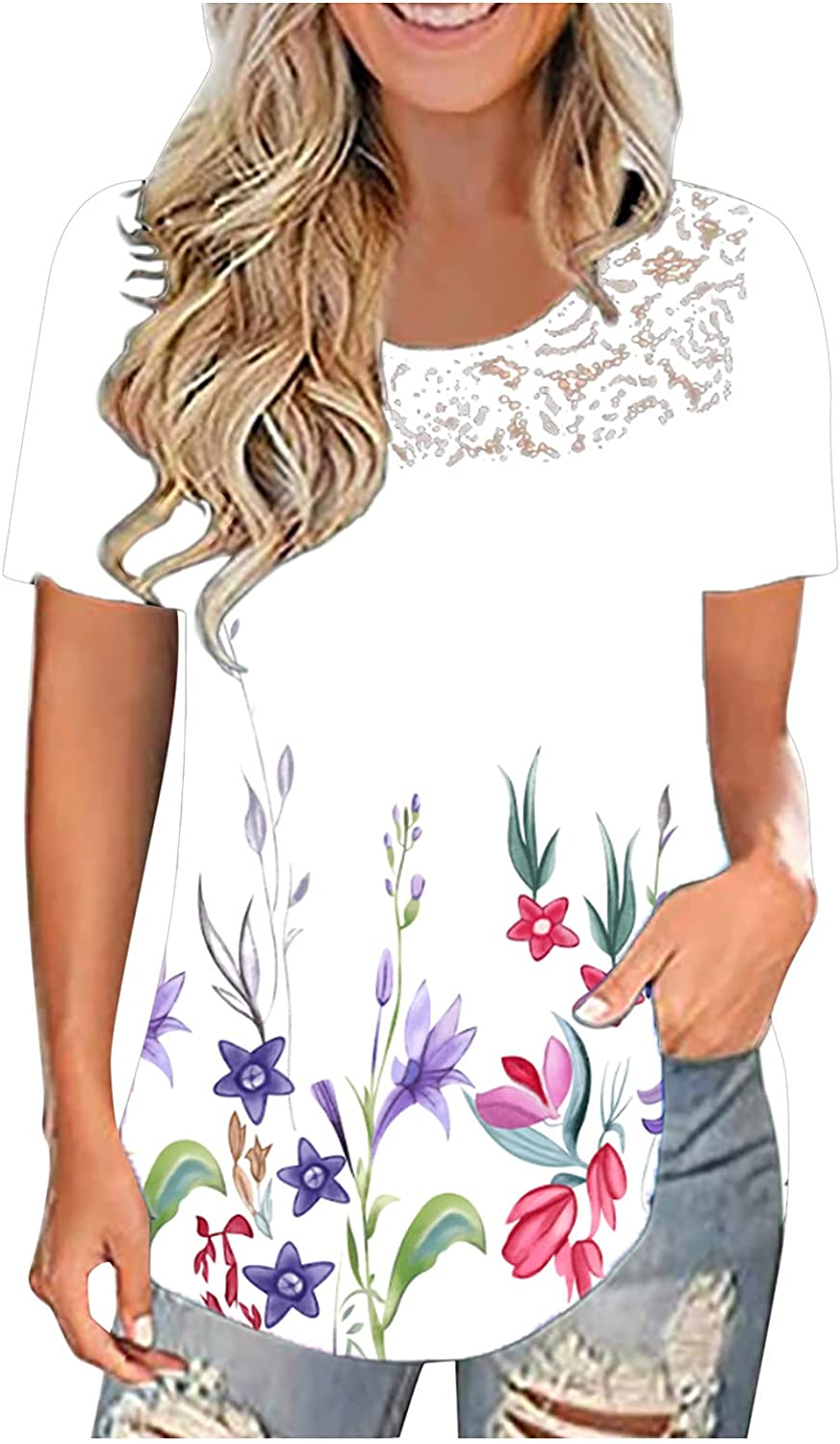 Womens Summer Tops Short Sleeve Loose Fit Casual Floral Printed Tee Shirts Tunic Lace Blouses