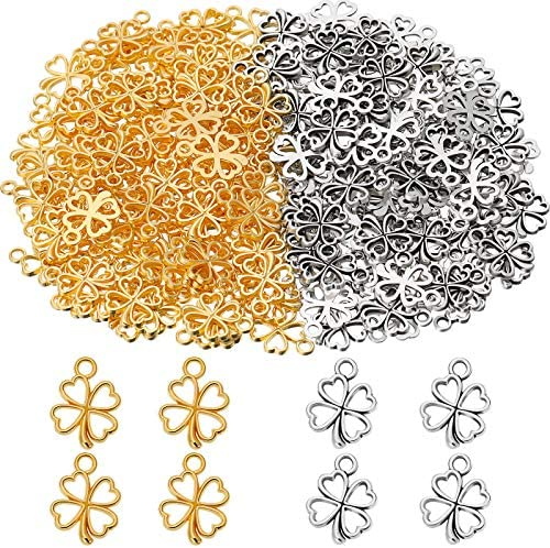 St Patrick s Day 200 Pieces Four Leaf Clover Shamrock Lucky Charms Pendants Include 100 Golden product image