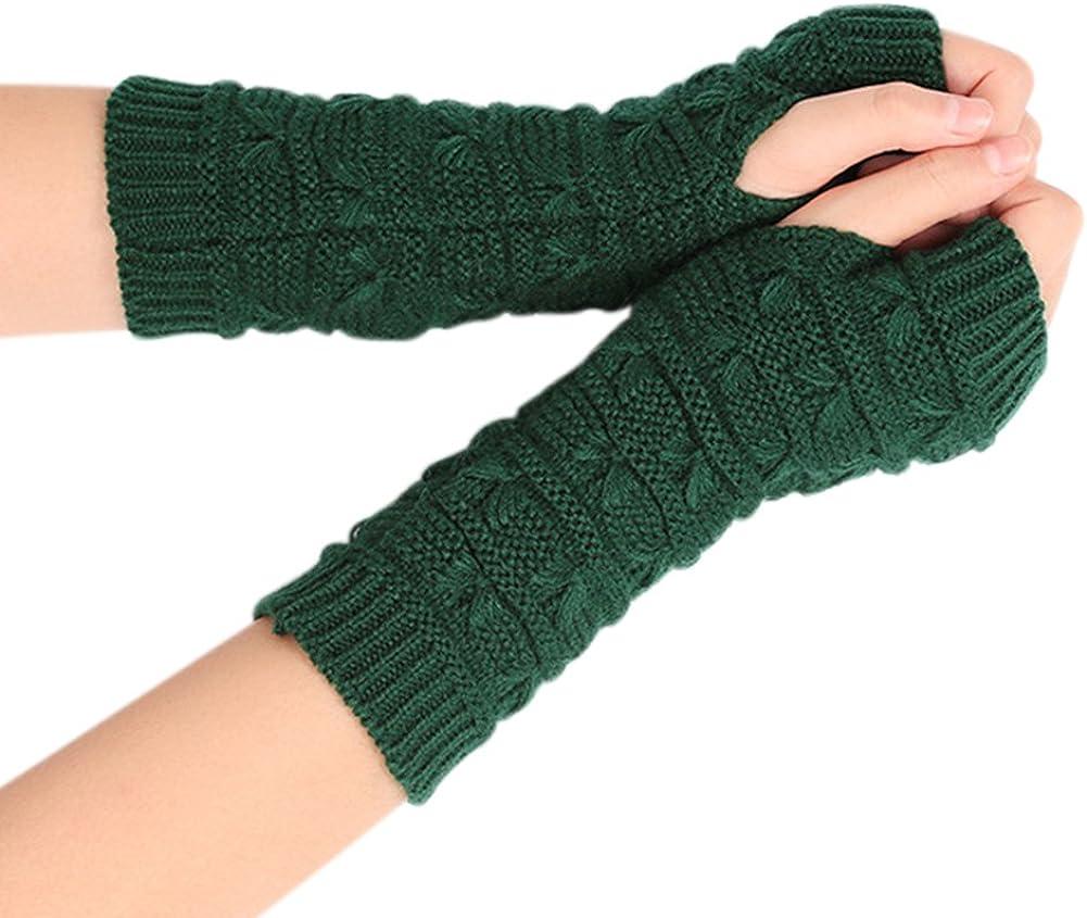 Women Winter Fingerless Gloves Crochet Knit Arm Warmers Mittens with Thumb Hole,Khaki