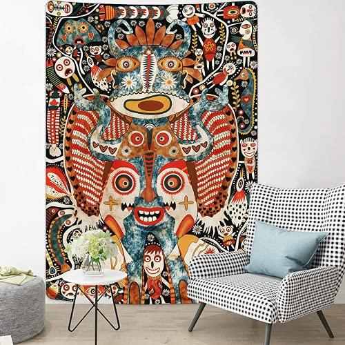 Tapiz con impresión 3D abstracto monstruo tapiz hippie Tapiz psicodélico Boho Tapiz para colgar en la pared, póster para el hogar, sofá, esterilla de yoga, decoración del hogar regalo