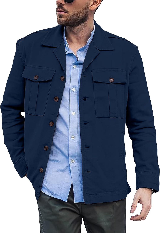Runcati Men Cotton Popular products Shirt Jacket Up Button Soft Inexpensive Lightweigh Casual