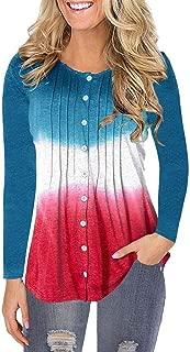 Rmeioel Women's Casual Fashion Long Sleeve O-Neck Gradient Buttoned Flattering T-Shirt Top Blouses Pullover Sweatshirt