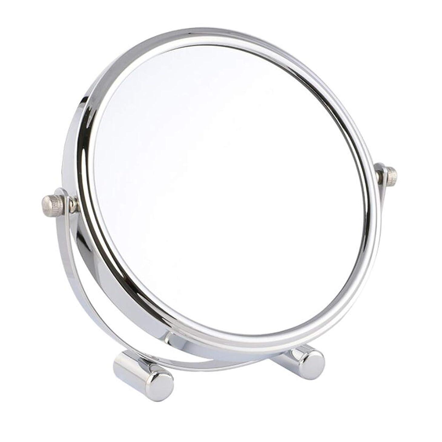 外交問題見せますクラス化粧鏡 女優ミラー けメイクミラー スタンドミラー 卓上鏡 化粧道具 両面鏡 片面2倍 拡大鏡 360度回転 鏡面直径17cm