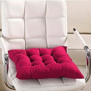 Cojín para silla de interior y exterior, mimbre macizo, cojines para silla de cocina, jardín, comedor, 35 x 34 cm, cojín para silla 40cm by 40cm rojo vino