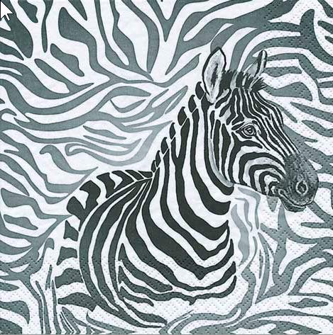 20 Servietten Zebra/Afrika 33x33cm