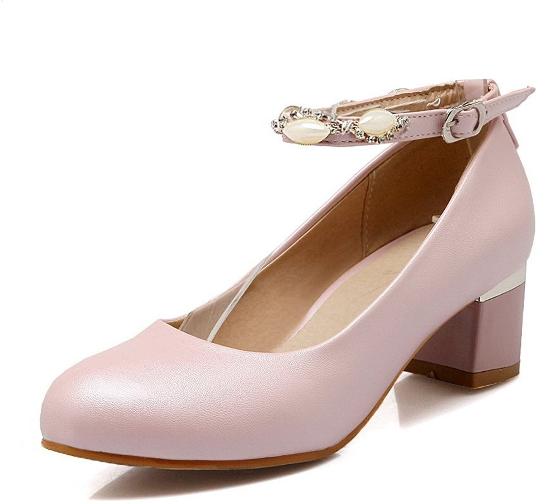 AllhqFashion Women's Round Closed Toe Kitten Heels Buckle Solid Pumps-shoes