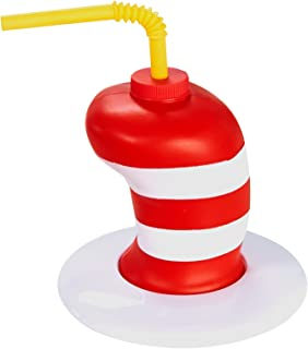 Dr Seuss Cat in The Hat Childrens Birthday Party Supplies - Striped Hat Plastic Sippy Cup with Straw (16)