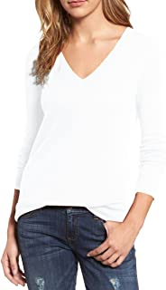 Pink Queen Women's V-Neck Cashmere Wool Blending Ribbed Knit Pullover Sweaters