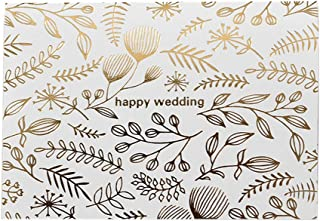 25 Pack Invitations Cards with Envelopes for Wedding Bridal Showers Engagement, Golden Leaves