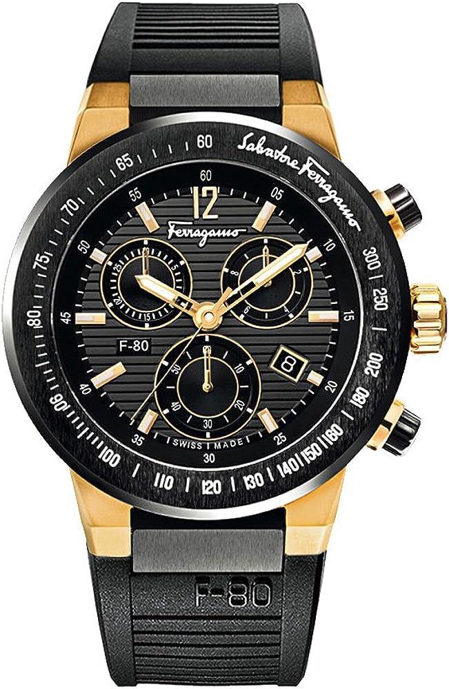 Salvatore ferragamo f-80, orologio, cronografo da uomo, cassa in titanio e ceramica e cinturino di caucciu` F55LCQ75909S113