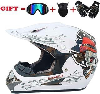 <h2>MX Erwachsene Motocross Helm Dirt Bike Motorradhelme Offroad ATV VTT VCAN Enduro Motorrad Sicherer Hut DOT Stardard Mit Handschuhen Brille Und Maske Schädel,L59~60cm</h2>