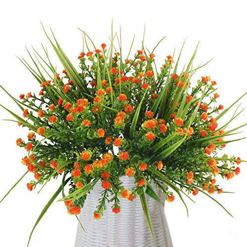 MIHOUNION 4 Stück Künstliche Sträucher Kunststoff Kunstblumen Orange Gypsophila Künstlich Plastikblumen Kunstpflanzen Arrangement Home Garten Büro Veranda Deko