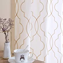 White 63 inch Long Curtains Living Room Moroccan Trellis Pattern Embroidered Design Grommet Top Bedroom Window Linen Textured Privacy Sheer Curtain Drapes 2 Panels