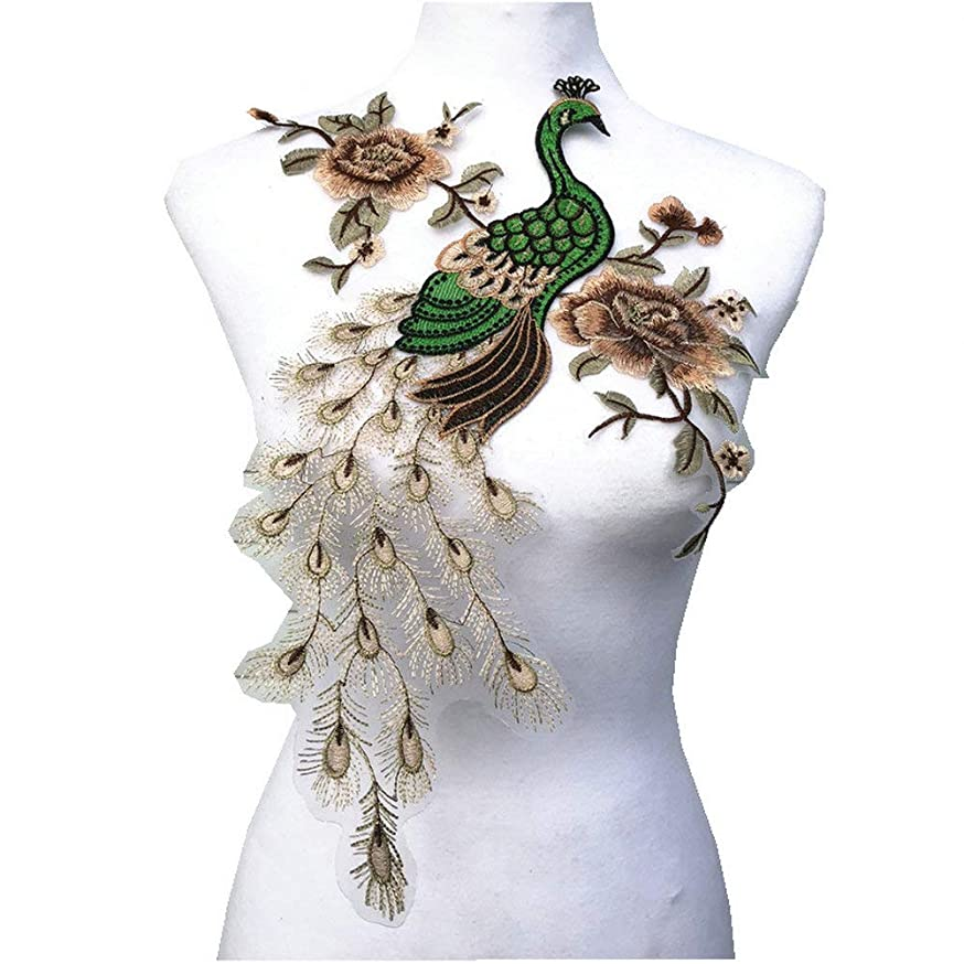 Fabric Sequin Peacock Flower Lace Sewing Applique Lace Collar Neckline Collar Applique DIY Clothing Accessory Scrapbooking (Beige)
