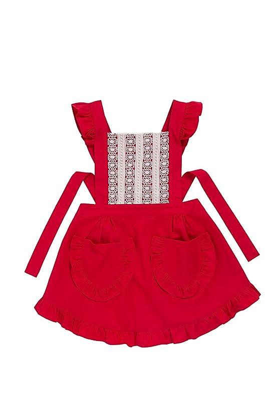 祭司アイデア寸法komanakomi かわいい フリル レース 高級 エプロン ドレス おしゃれ 上品 結婚お祝い 女性用 ギフト (レッド)