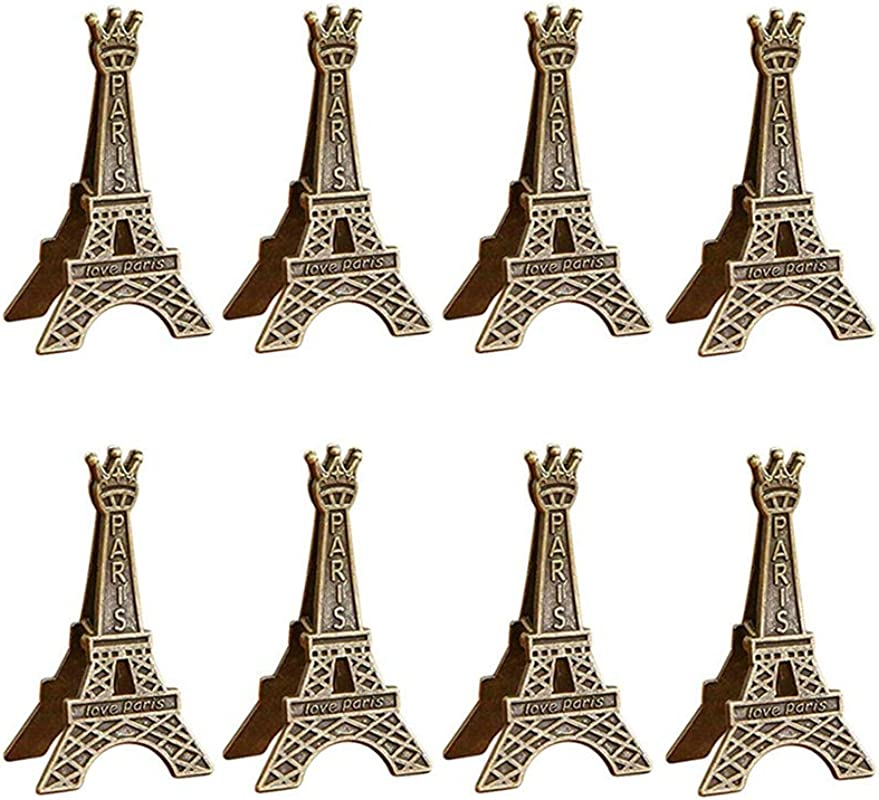Whale GoGo 8 Pcs Metal Eiffel Tower Table Number Photo Clips Holders Stands Name Card Paper Note Clips For Party Office Home Decoration