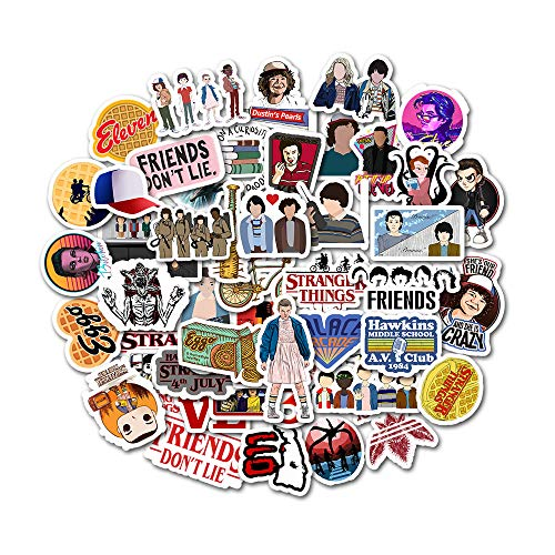 Stranger Things Merchandise Stickers, TV Show Decal Stickers for Laptop Water Bottle Hydroflask Luggage Computer Phone Notebook Cup, Graffitti Patch Sticker for Kids Teens Adult, 50 Pcs