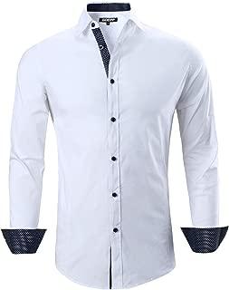 Men's Dress Shirt - Men Slim-Fit Wrinkle-Resistant Long-Sleeve Casual Shirt