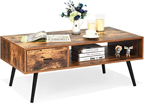 """discount Giantex Coffee Table Mid-Century wholesale Modern TV Table W/ 1 Drawer and high quality Open Storage Shelf for Living Room, Reception, Rustic Accent Sofa Cocktail Table 43"""" x 21.5"""" x 17.5""""(L x W x H) (Rustic Brown) outlet sale"""