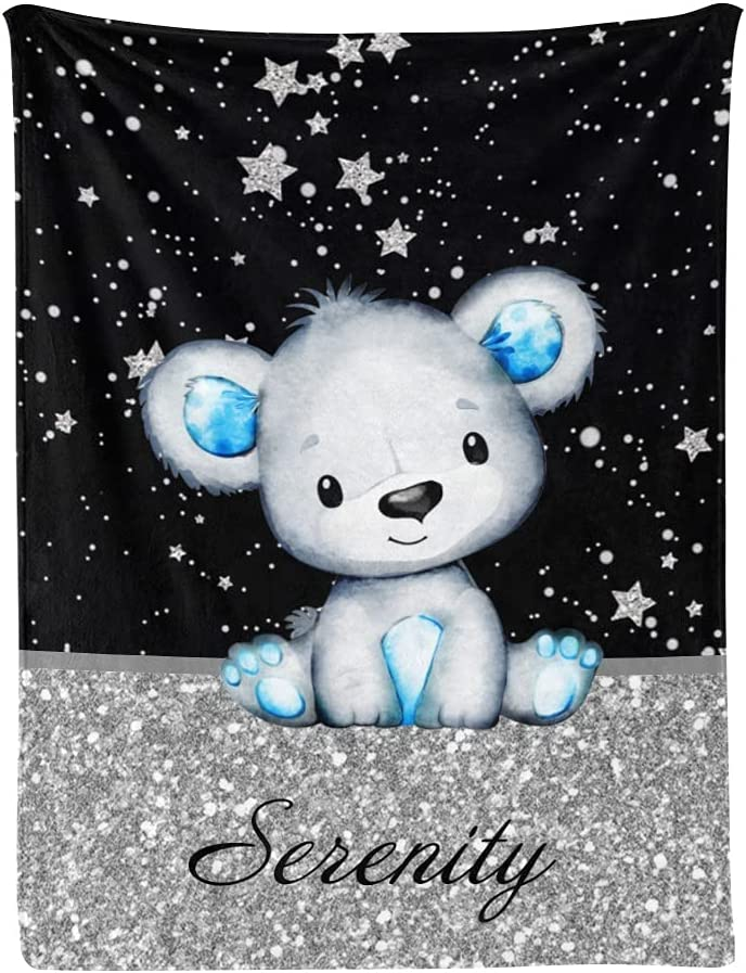 Personalized Cute Bear Max 66% OFF New product! New type Baby Blanket Name Custom Nurser with