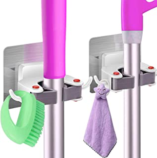 ARyee Mop Broom Holder Home Kitchen Garden Tool Organizer Wall Mounted Organizer Storage Hooks with 5 Position and 6 Hooks