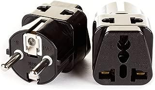 OREI 2 in 1 USA to Europe Adapter Plug (Schuko, Type E/F) - 2 Pack, Black
