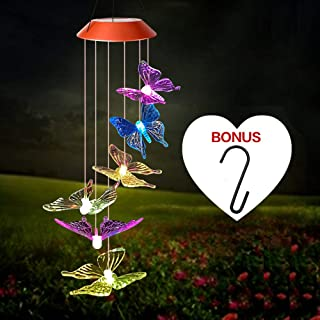 Wind Chime,Solar Butterfly/Hummingbird Wind Chimes Outdoor Indoor Color Changing Solar Light Mobile,Sun 6 Memorial Wind Chimes,Garden Japanese Wind Chimes Sunflower,Summer Butterfly Wind Chime+S Hook