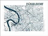 Poster 70 x 50 cm: Stadtplan von Düsseldorf von 44spaces -