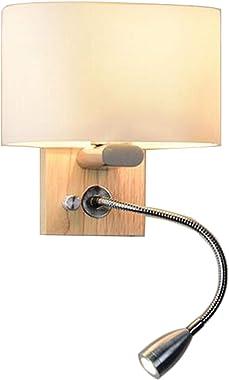 FREELX Applique Murale Interieur Chambre Design Moderne E27 Lecture Décoratif Lumière Glass Lampshade Wooden Base Avec Button