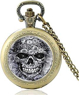 New Black Steampunk Skull Gear Quartz Glass Dome Pocket Watch Charm Men Women Necklace Pendant Yang (Color : Bronze)