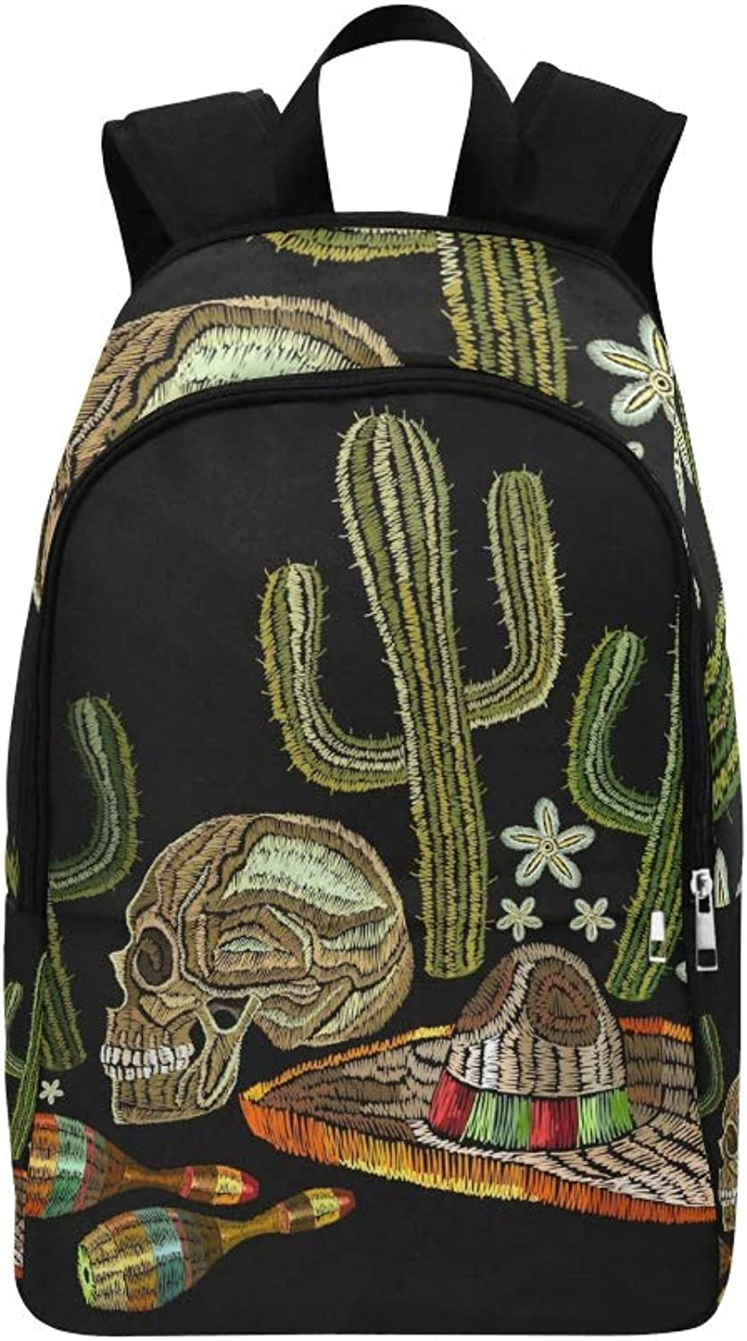 Embroidery Mexican Culture Human Skull Sombrero Casual Daypack Travel Bag College School Backpack for Mens and Women