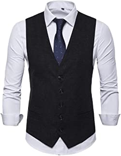 GRMO Men Business Polka Dot Print Single Breasted Dress Suit Vest Waistcoat