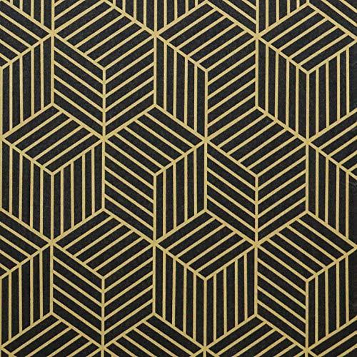 Papier Peint Hexagonal avec Géométrie Papier Noir avec Bandes Dorées, Décollez et Collez - Autocollant Amovible - Rouleau de Film Vinyle Décoratif pour Etagère et Tiroir(45CMX2M)