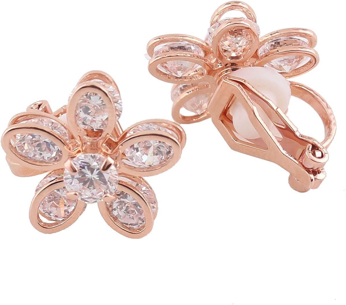 Grace Jun Bridal AAA Cubic Zirconia Clip on Earrings Without Piercing Copper Material Flower Earrings