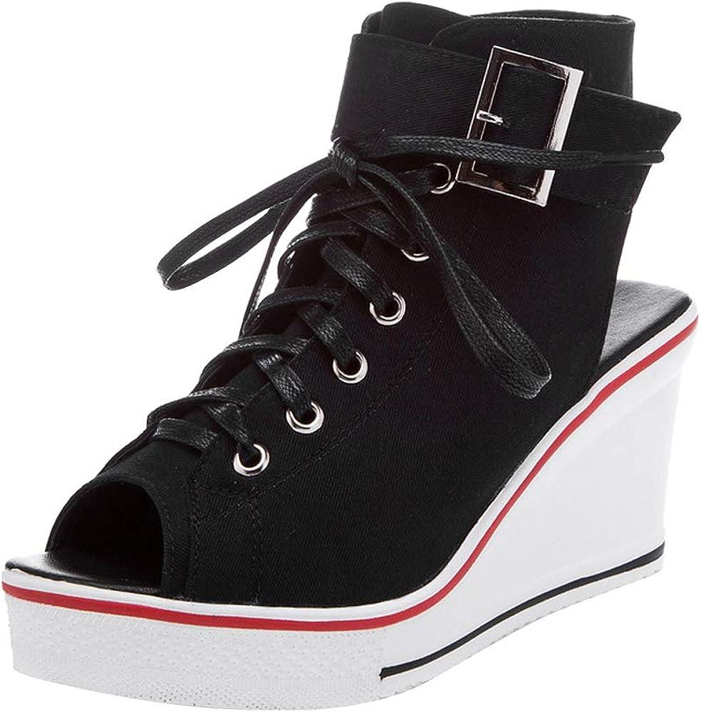 OCHENTA Women's Peep Toe Canvas Wedge Heeled Platform Fashion Sneaker