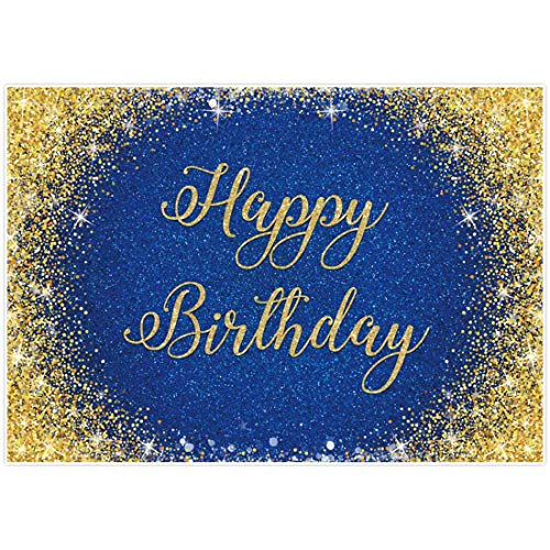 Allenjoy 7x5ft Happy Birthday Backdrop Glitter Gold and Royal Blue Photography Background for 20th 30th 40th 50th Bday Party Sweet 16 Cake Table Decor Banner Photo Booth Props