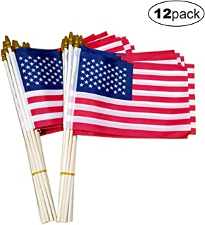 Small American Flags-12 Pack, 5.5x8.2 Inch Small American Flags on Stick, Handheld American Flag/US Flag, for Party Decorations and Parades, School Sport Events, July 4th Decorations Flags