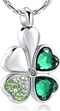 constantlife Cremation Jewelry Memorial Urn Necklace for Ashes Lucky Four-Leaf Clover Design Stainless Steel Pendant Keepsake