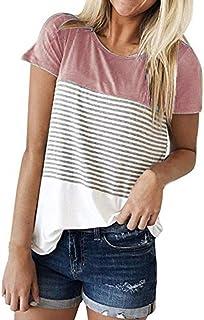 YANG-YI Women Basic Shirts Short Sleeve Crew Neck Triple Color Block Stripe T Shirt Casual Blouse
