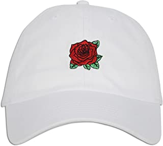 JLGUSA Red Rose Embroidered Dad Cap Hat Adjustable Polo Style Unconstructed