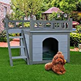2-Story Wooden Dog House Shelter, Weather Resistant Pet Cat Room with Climbable Stairs and Balcony Bed, Indoor and Outdoor Use, Grey