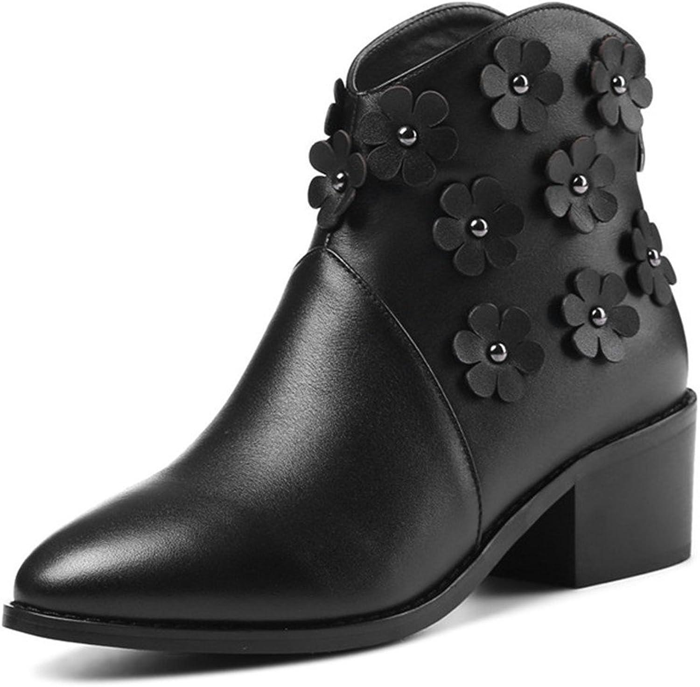 Nine Seven Genuine Leather Women's Pointed Toe Chunky Heel Flower Handmade Ankle Bootie