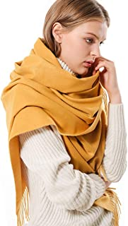 Solid Color Cashmere Scarf for Women Soft Pashmina Wraps Shawls with Fringe for Winter