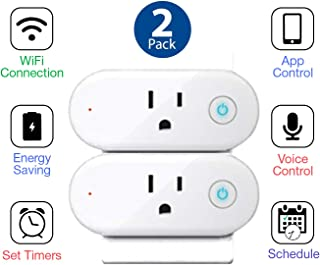 2 PACK APP CONTROLLED SMART PLUG WiFi - alexa Controlled- Google Home Controlled - Phone Controlled