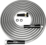 TITAN 100FT Metal Garden Hose | Stainless Steel Water Hose with Solid Aluminum Connectors 360 Degree Brass Nozzle Lightweight Kink Free Strong Durable and Heavy Duty