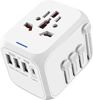 Travel Adapter, YOUKEX International Universal Power Adapter Surge Protector USB + Type-C Quick Charge All in One Worldwide Wall Charger AC Plug Adaptor for USA Europe UK AUS Phone Tablet Laptop White