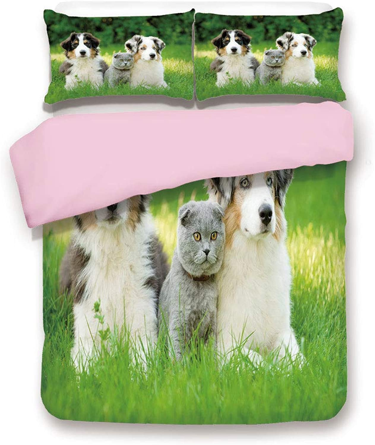Pink Duvet Cover Set,Queen Size,Cute Pets Puppy Family in the Garden Australian Shepherds and A Cat Scenery Decorative,Decorative 3 Piece Bedding Set with 2 Pillow Sham,Best Gift For Girls Women,Cream